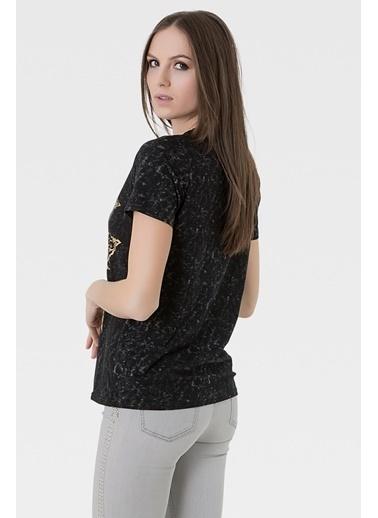 Optique Kısa Kollu Baskılı Bluz Siyah